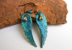 Bird Wing EarringsBlue Feather EarringsWing by ATouchofRomance