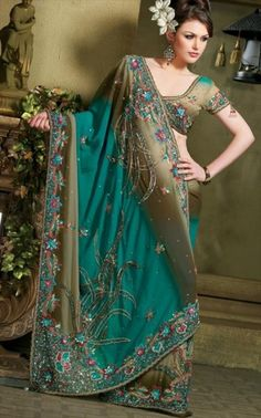 Bridal Saree.  On green because I don't keep a teal board; curious to see if exposure to Indian wedding styles on Pinterest will alter the US bridal trade.