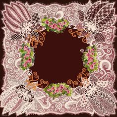 Hand-drawn lace frame with roses and foliage (copy-righted)