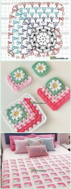 Crochet Mitered Granny Square Blanket kostenlose Muster - Knitting and Crochet Granny Square Crochet Pattern, Crochet Squares, Crochet Blanket Patterns, Crochet Motif, Crochet Baby, Diy Crochet, Crochet Ideas, Granny Pattern, Free Pattern