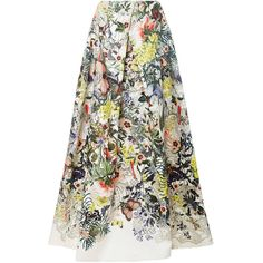 Monique Lhuillier Floral Botanical Ball Skirt (103 030 UAH) ❤ liked on Polyvore featuring skirts, white maxi skirt, high waisted floral maxi skirt, pleated skirt, high waisted pleated maxi skirt and long white skirt