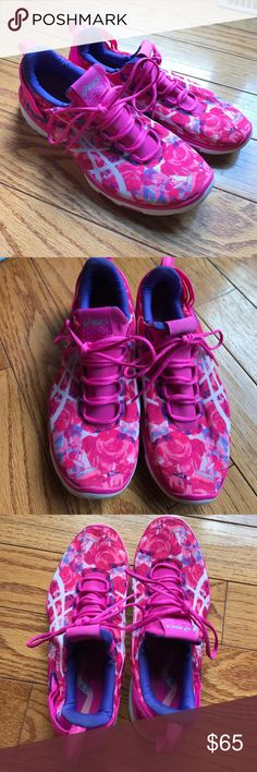 Asics fight with action pink women's sneakers Worn once, pink womens sneakers. I ordered the wrong size by accident online. Stretchy and comfy but too small on my foot! Such a cute design. Asics Shoes Sneakers