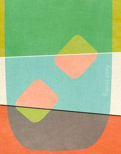 mid century design art print - ice tea