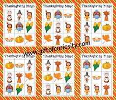 FREE printable Thanksgiving Bingo game || Gift of Curiosity
