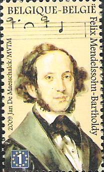 belgian stamps Masters of Music.. Felix Mendelssohn - Bartholdy