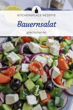 Today we crack the 30 degrees in Cologne! Of course a refreshing salad should not be m Caprese Salad, Cobb Salad, Olive Oil Juice, Lemon Salt, Greek Salad, Nutrition Information, Stuffed Green Peppers, Cucumber, Healthy Living