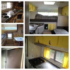 Camper renovation that Trav and I did! Painted over the wood panels, wallpaper, painted countertops, new sewn cushions/curtains and chalkboard paint fridge! Brightened the thing right up :)