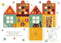Freebie Christmas House. Use as giftbox, decoration or lantarn. By-Bora.com