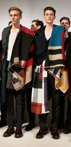 A glimpse backstage - Burberry models together after the A/W14 menswear show - these scarves!!!!