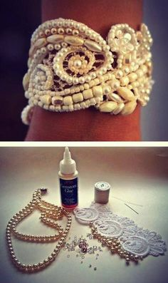 Make a gorgeous cuff band with old scrap lace and pearls from your grand-mom's trinket box! Slowly sew it through creating an abstract design. Flat beads need to be glued to the patch. Join the ends with a hook to be able to hold it together over your wrist.