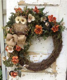 Large Fall wreath , autumn wreath with burlap bow, owl wreath, fall grapevine… Owl Wreaths, Autumn Wreaths, Wreath Crafts, Deco Mesh Wreaths, Diy Wreath, Holiday Wreaths, Grapevine Wreath, Wreath Fall, Yarn Wreaths