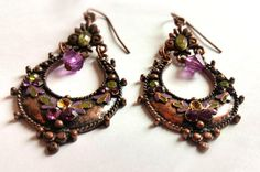 Copper Tone Teardrop  Earrings With A Purple Teardrop by Urmelshop