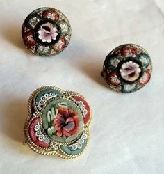 ANTIQUE TO VINTAGE LOT MICRO MOSAIC ITALY JEWELRY PINS EARRINGS PENDANT COLORFUL