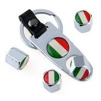 Car Wheel Tire Valve Caps Stem with Italy Flag Silver White with Alloy Leather Wrench Keychain Ring Spanner Car Styling
