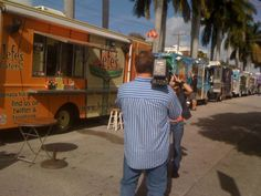 A behind-the-scenes look at the Biscayne Triangle Truck Round-Up in North Miami, Fl. This is one of the most popular weekly food truck events in Miami. Food Truck Events, Road Trip Across America, Road Trip Food, Sea To Shining Sea, Catering, Miami, Triangle, Trucks, Popular