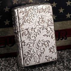 Japanese Plated Silver 5 Sides Arabesque Zippo Lighter 2GI-5KARA