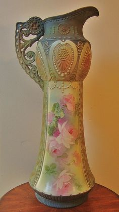 Large Victorian Art Nouveau Cabbage Roses Austrian Vase Cottage Shabby Chic For sale on Ruby Lane
