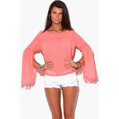 Coral Pink Sheer Chiffon Top This super cute chiffon top is festival ready! Pretty feminine semi sheer chiffon plus Flowy bell sleeves make you feel instantly romantic yet sexy. Elastic at bottom hem. Bell sleeves with slits. Unlined. 100% polyester. Made in USA. ‼️RUNS SMALL‼️ available in 2⃣sizes XL, 2XL Tops Blouses