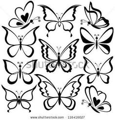 simple butterfly drawings black and white - Pesquisa Google