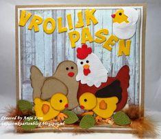 Hallo allemaal,     Ja nog een kaartje met Vrolijk Pasen erop ze zijn echt wel leuk die kippetjes.     Om even bij het geel te blijven ook ...