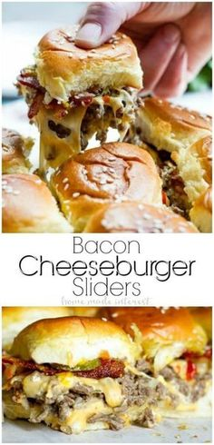 This easy Bacon Cheeseburger Sliders recipe is an appetizer recipe that is baked in the oven. These simple sliders are filled with ground beef, cheese, bacon, and your favorite burger toppings all on toasted Hawaiian rolls. This is a great recipes for par Cheese Burger, Burger Toppings, Burger Recipes, Appetizer Recipes, Party Appetizers, Party Snacks, Beef Appetizers, Easy Sandwich Recipes, Cheese Fries