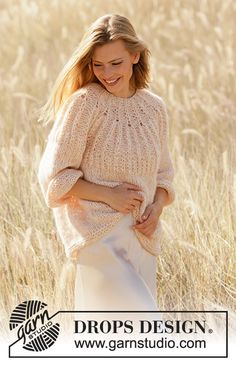 Knitted jumper in DROPS Air and DROPS Brushed Alpaca Silk. Piece is knitted top down with Fisherman's rib stitches on yoke and ¾ sleeves. Knitting Patterns Free, Free Knitting, Free Pattern, Crochet Patterns, Drops Design, Labor, Crochet Diagram, Summer Patterns, Alpacas