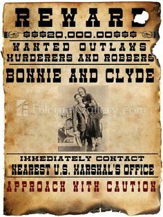 Bonnie and Clyde Wanted Poster Art Print, 18 x 24 inches Bonnie And Clyde Death, Bonnie And Clyde Photos, Bonnie Clyde, Old West Outlaws, Famous Outlaws, Old West Photos, Bonnie Parker, Advertising History, Westerns