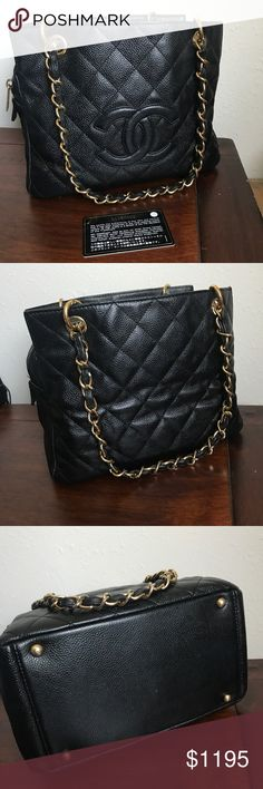 Chanel Black Caviar Petite Timeless Tote Comes with card. Outside in great condition only defect is the strap was cut see pic. The leather can be let up on Oman end and pushed forward to cover the gap.(do yourself or sent to leather surgeons) inside the fabric has some tears. Serial sticker still partially in place. They is some fragrance smell previous owner must of put in it. I have aired it out for two days and it greatly died off. CHANEL Bags