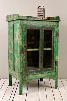 Antique Farm Chic Warm Industrial Bright Green Indian Bar Storage Kitchen Bathroom Cabinet Media Tower Curio