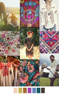 Embroidery, folk art surface pattern design inspiration