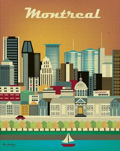 Montreal, Canada Skyline - 8 x 10 Vertical Retro Travel Original Art - Wall Art for Home, Office, Nursery - style E8-O-MO
