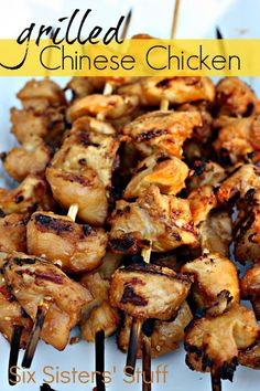 Grilled Chinese Chicken Kabobs With Soy Sauce, Brown Sugar, Minced Onion, Rice Vinegar, Garlic, Ginger, Sesame Oil, Boneless Skinless Chicken Breasts
