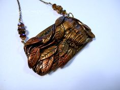 Soft Autumn Breezes copper & gold polymer clay and by LynzCraftz