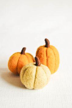 Needle Felted Pumpkins in Butterscotch Orange by handmadebybrynne, $22.00