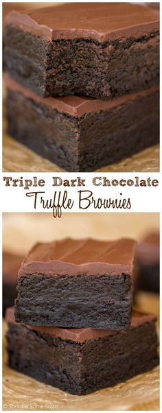 Triple Dark Chocolate Truffle Brownies. Hands down, THE BEST recipe on my site! Deep dark chocolate brownies with a delicious Oreo truffle layer, topped with a soft layer of chocolate.