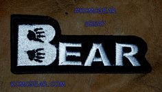 BEAR White on Black Small Badge Patch for Vest jacket SB547