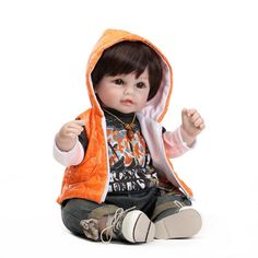 78.96$  Buy here - http://ali3yp.worldwells.pw/go.php?t=32619707237 -  52CM silicone reborn baby dolls for sale cute boy dolls with clothes boneca reborn kids toys brinquedo menino	 78.96$