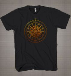 Bronzed Compass Rose  Mens and Women T-Shirt Available Color Black And White