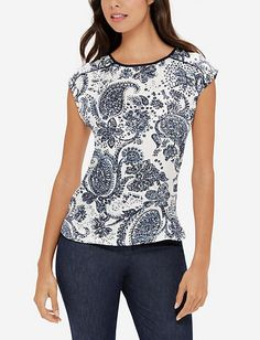 Paisley Printed Woven Front Top from THELIMITED.com