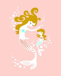 mermaid mother & daughter giclee art print on fine art paper. Mermaid Nursery, Mermaid Room, Mermaid Mermaid, Art Wall Kids, Wall Art, Twin Girls, Baby Girls, Baby Boy, Mother And Child
