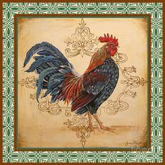 Renaissance Rooster-b-green Painting  - Renaissance Rooster-b-green Fine Art Print