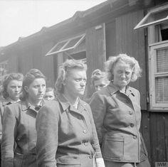 Hildegard Kanbach, Magdalene Kessel, Irene Haschke, Herta Ehlert (con el rostro parcialmente oculto) Y Hertha Bothe poco después de su arresto en Bergen-Belsen el 19 de Abril de 1945.