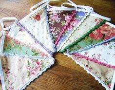 lovely bunting with crochet lace edging