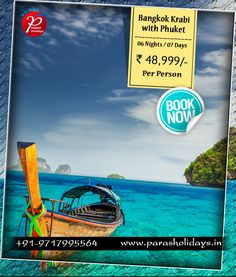 offers Best for with from Delhi at affordable prices. Book your with us and get special offers. Bangkok Krabi, Phuket, Honeymoon Tour Packages, Tours, Night, Holiday, Vacations, Holidays, Holidays Events