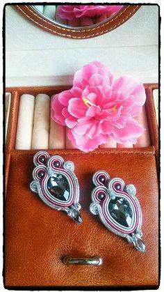 "Soutache earrings ""Prosna"" with gray"