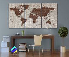"""LARGE 30""""x60"""" 3 Panels Art Canvas Texture Print Map Brown World Cities Push Pin Travel Wall decor Home Office interior (framed 1.5"""" depth)"""
