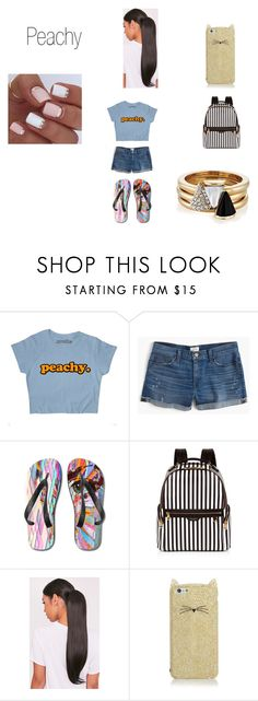 """""""Peachy"""" by simonjai ❤ liked on Polyvore featuring J.Crew, Henri Bendel, Kate Spade and Brixton"""