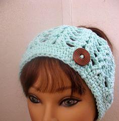 Messy Bun Hat Summer Crochet PonyTail Hat MINT by StitchesByAlida Crochet  Craft Fair 9aa68d0e565d