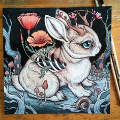 "ReGrowth, we will bloom even in the darkness. my little 6"" by 6"" jackalope painting is in my shop now at www.caitlinhackett.storenvy.com  SOLD thanks everyone!  I had so many people emailing about buying this little guy, so if you're interested in purchasing but the painting gets snapped up by someone else  please know you can always commission a painting!"