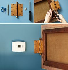 How to hide thermostat- but no instruction. Just add a canvas painting or something ? Hide Thermostat, Thermostat Cover, Living Styles, Home Hacks, Diy Hacks, Home Organization, Organisation Ideas, Interiores Design, Home And Living